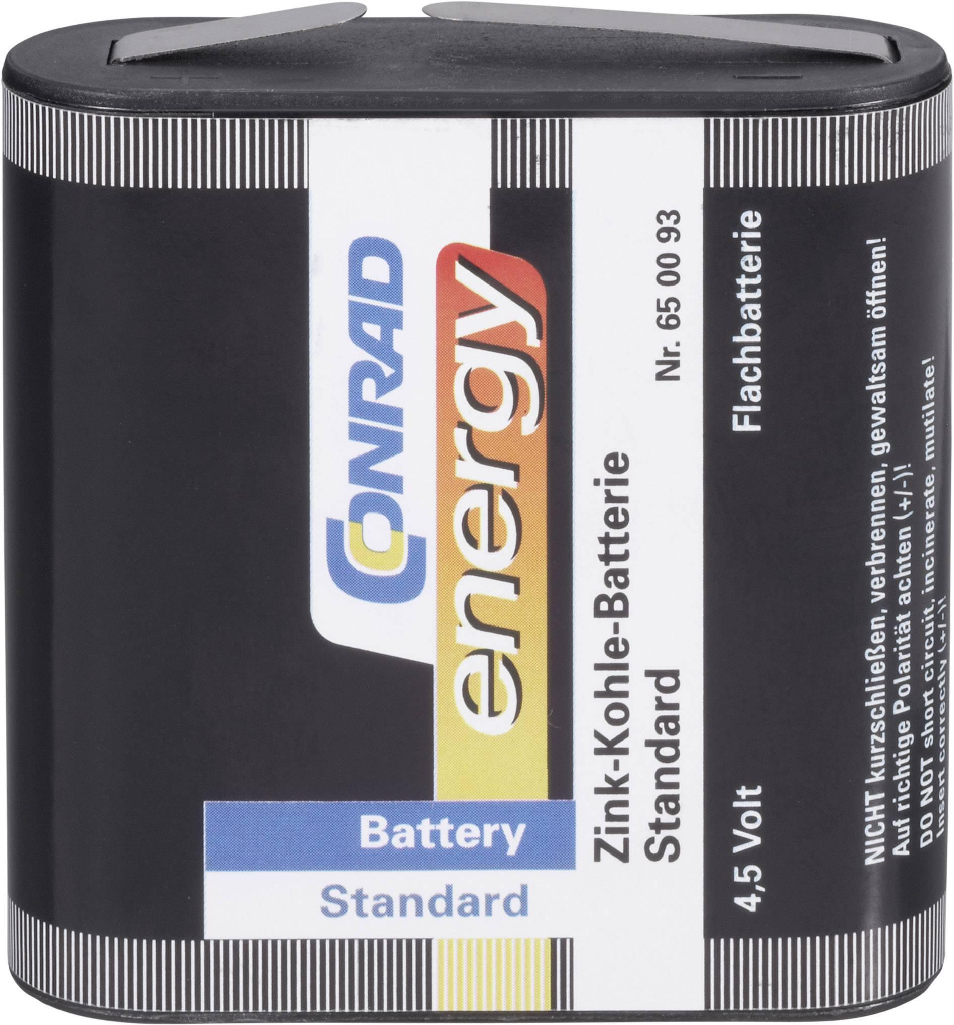 Zinkovo-uhlíková batéria Conrad Energy, typ plochá, 4.5 V, 2000 mAh