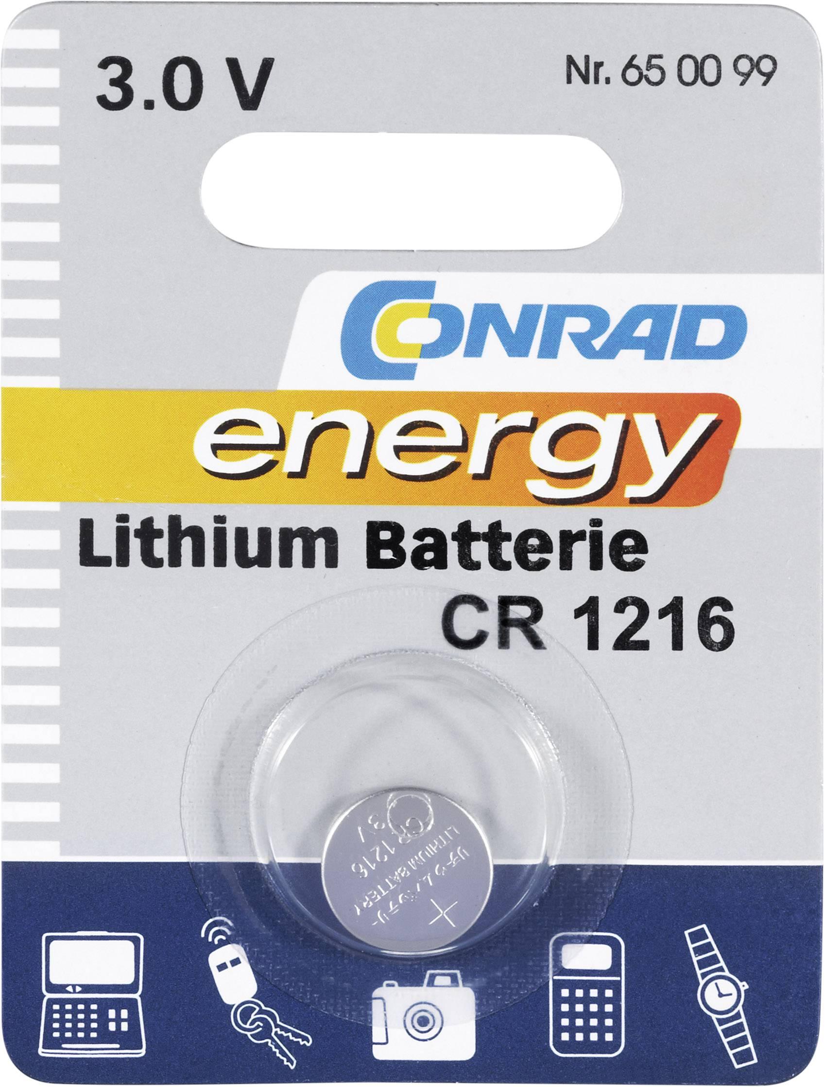 Knoflíková baterie Conrad energy CR1216, lithium