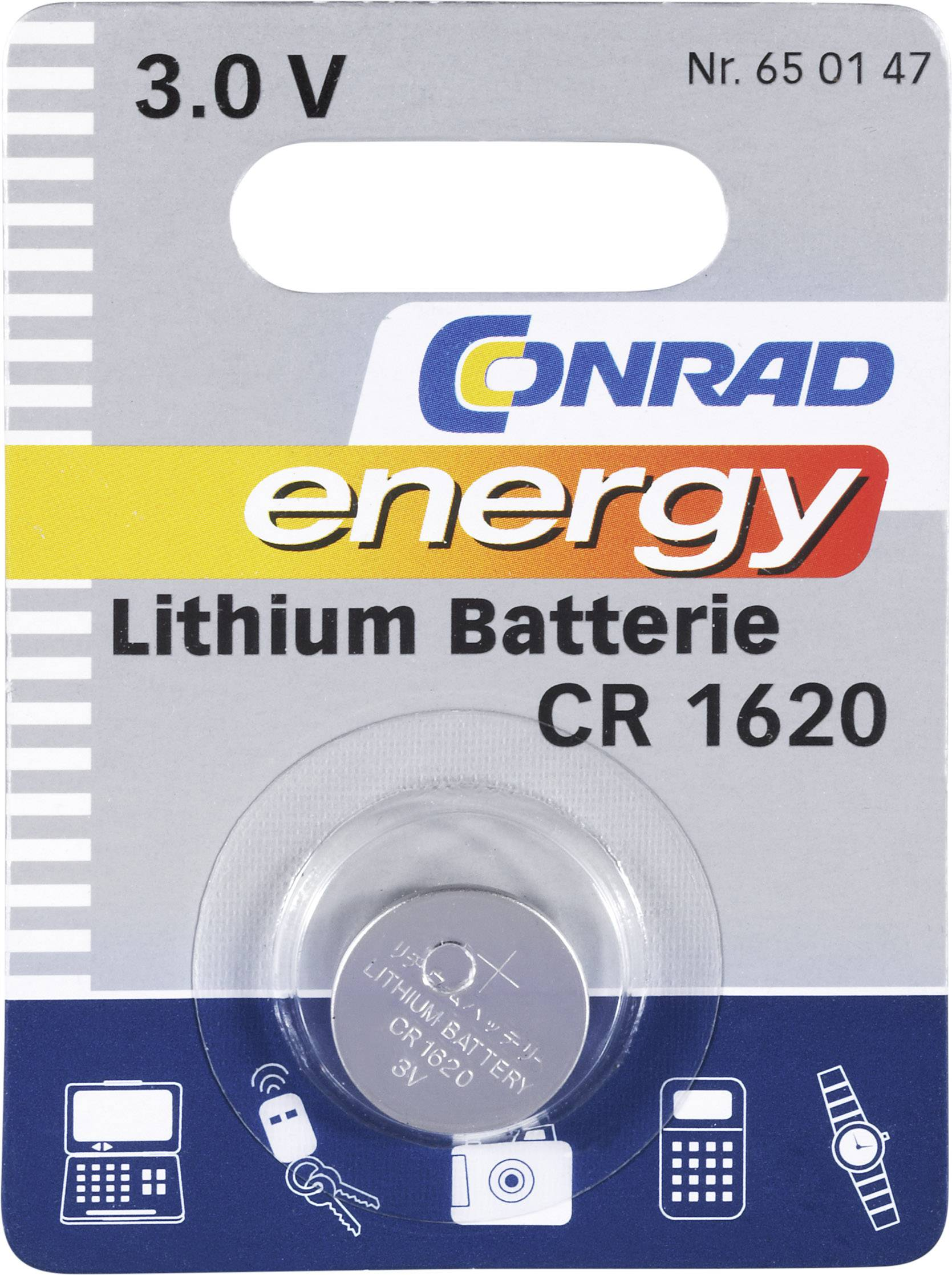 Knoflíková baterie Conrad energy CR 1620, lithium
