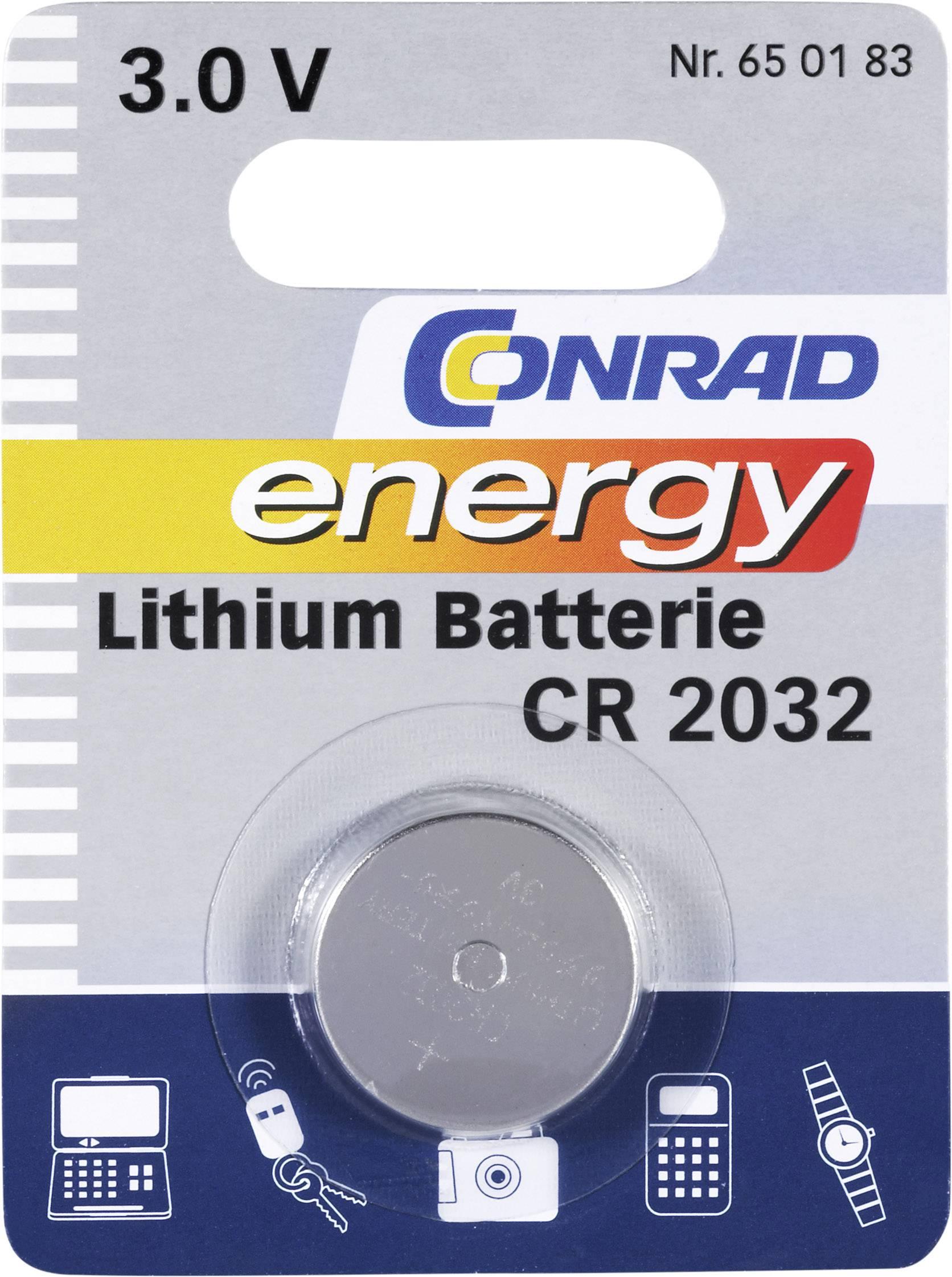 Knoflíková baterie Conrad energy CR2032, lithium