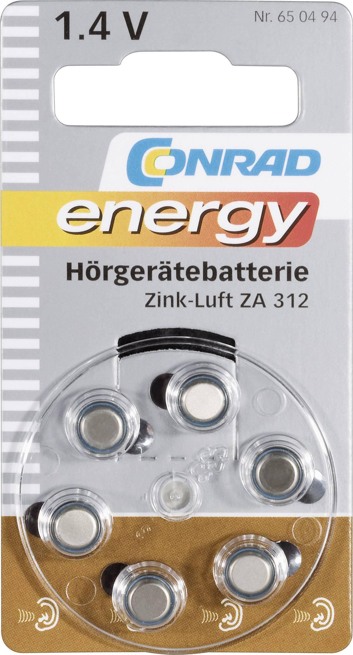 Conrad Energy zinkovo-vzduchové gombíkové batérie ZA 312