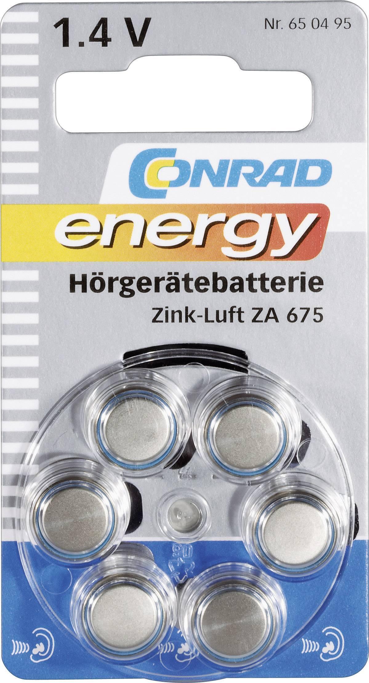 Conrad Energy zinkovo-vzduchové gombíkové batérie ZA 675