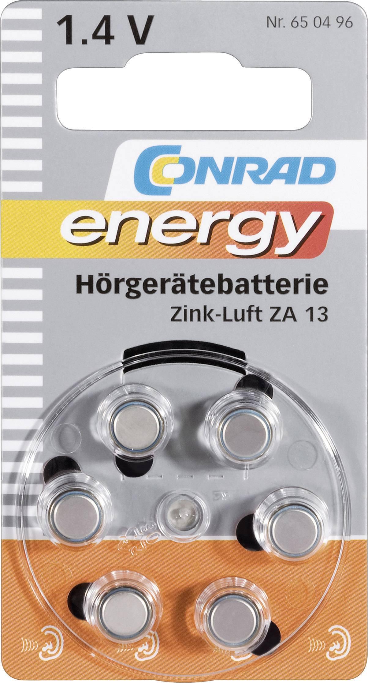 Conrad Energy zinkovo-vzduchové gombíkové batérie ZA 13