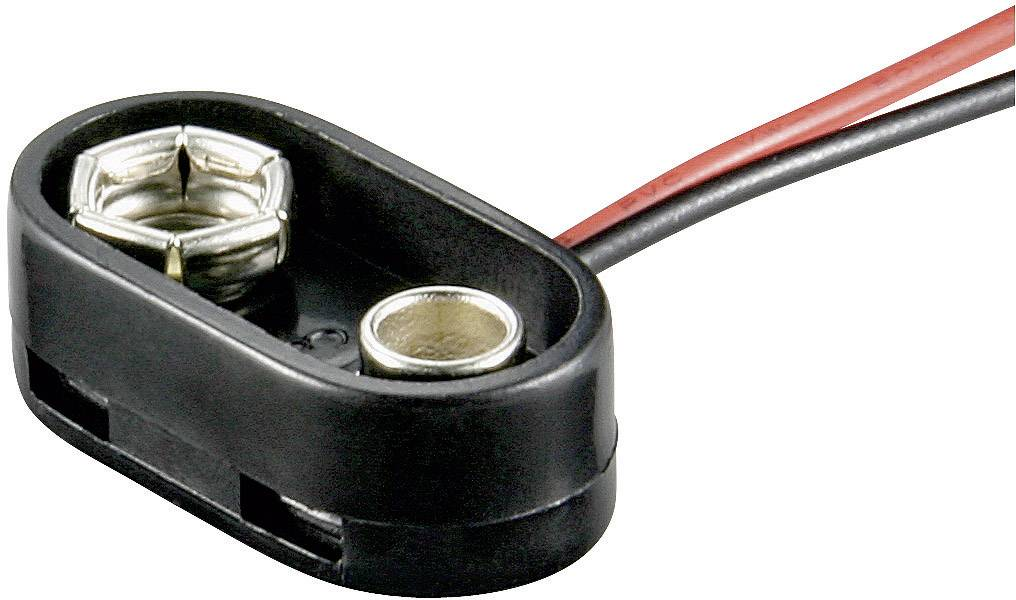 Batériový klip na 1x 9 V bloková Goobay 10882, (d x š x v) 26 x 13 x 8 mm