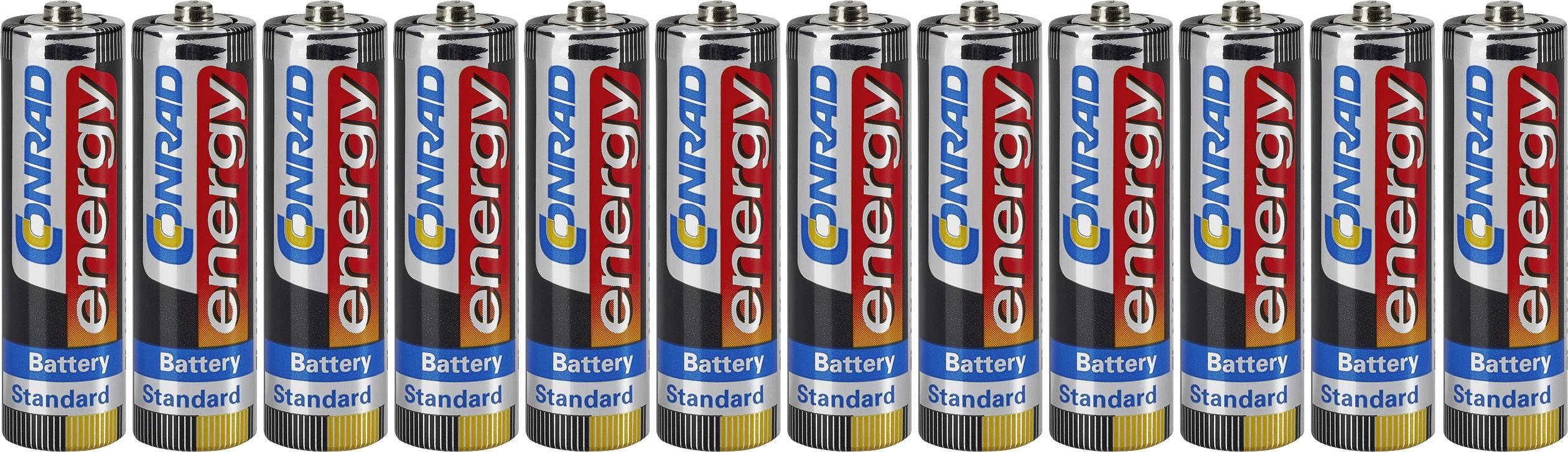 Tužková batéria typu AA zinok-uhlík Conrad energy LR06, 1.5 V, 12 ks