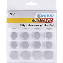 Sada knoflíkových batérií lítiová Conrad energy 650675, 20 ks