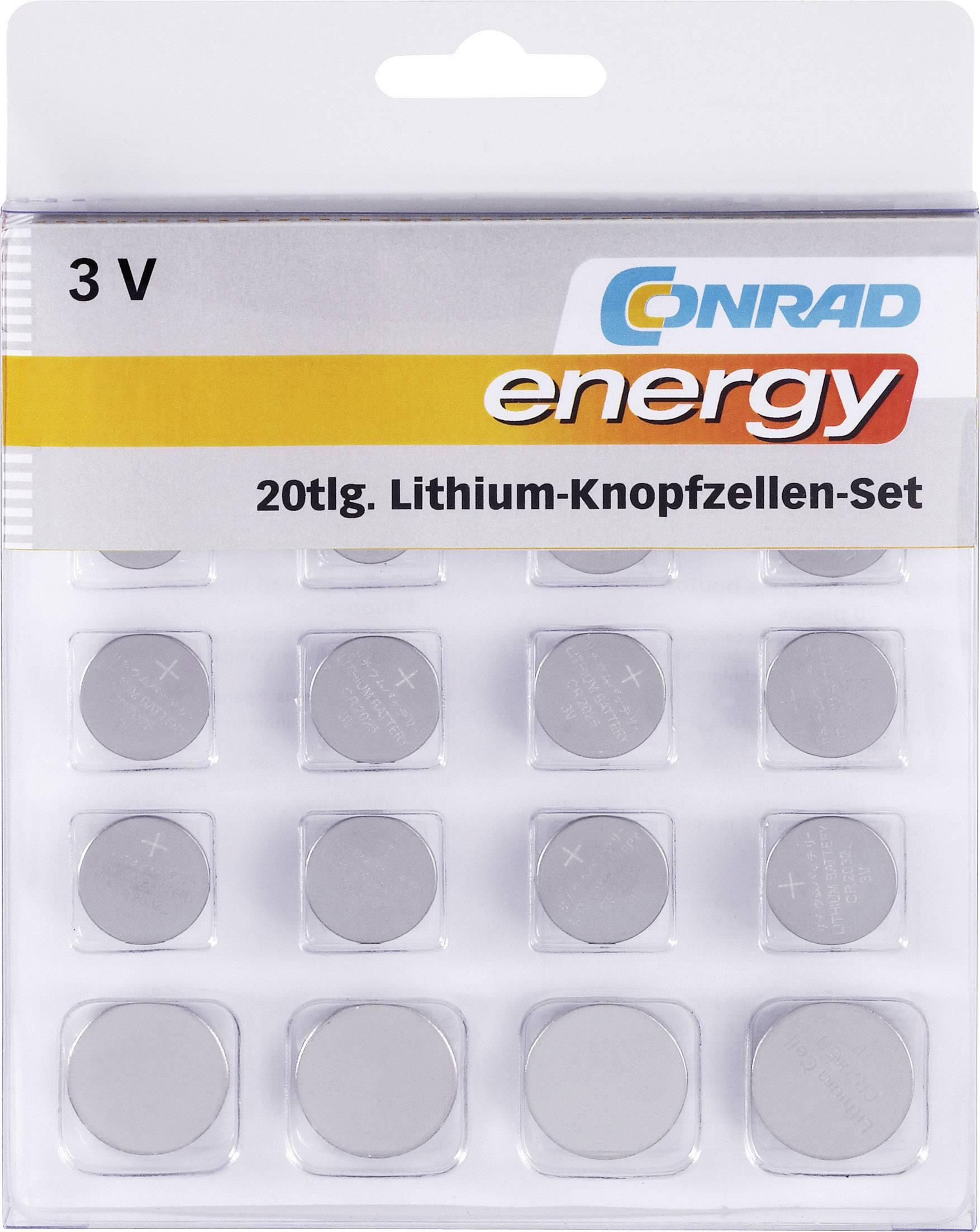 Sada knoflíkových batérií lítium Conrad energy 650675, 20 ks