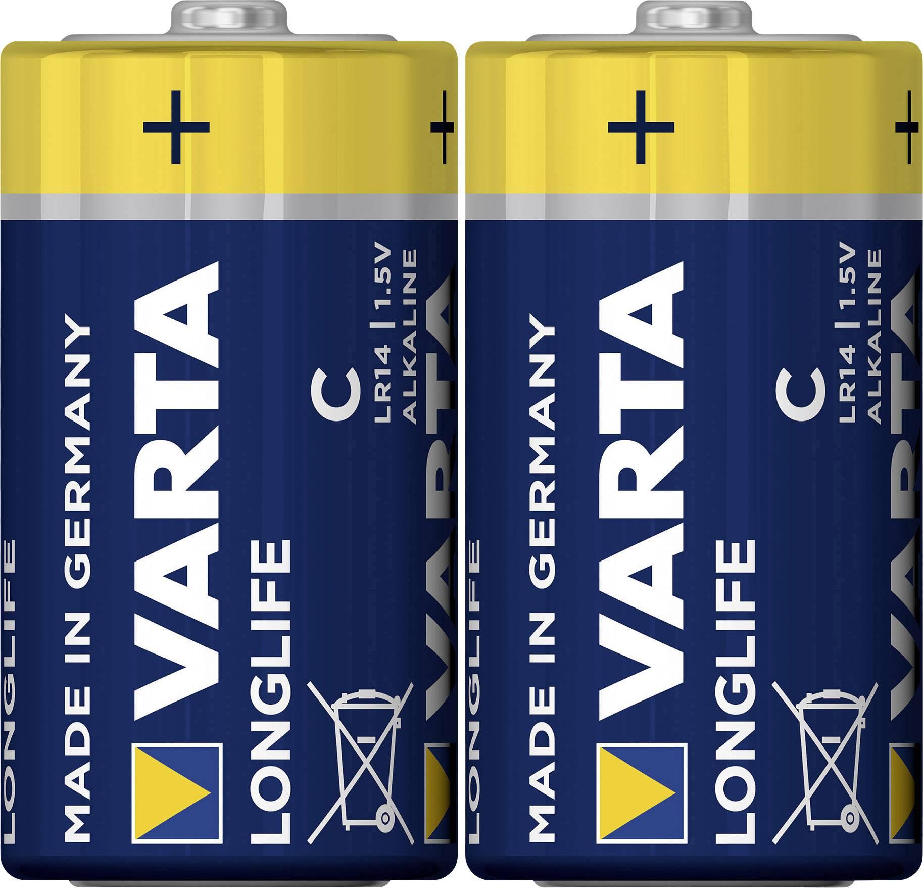 Batéria VARTA Longlife Extra, 2 ks, malé mono, 1,5 V