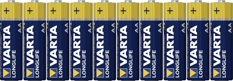 Alkalická/manganová baterie Varta Longlife, typ AA, sada 8 ks