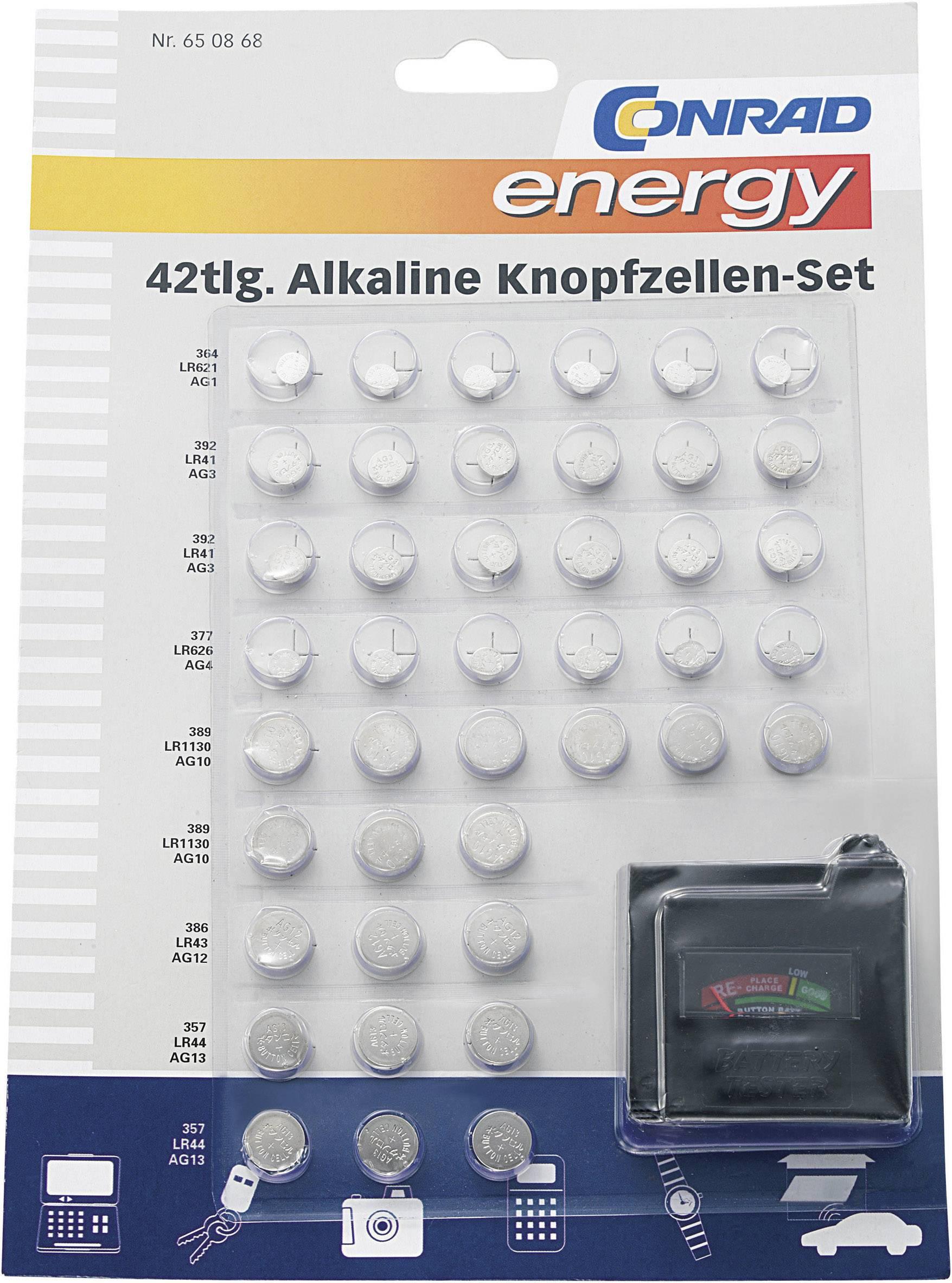 42-dielna súprava alkalických gombíkových batérií