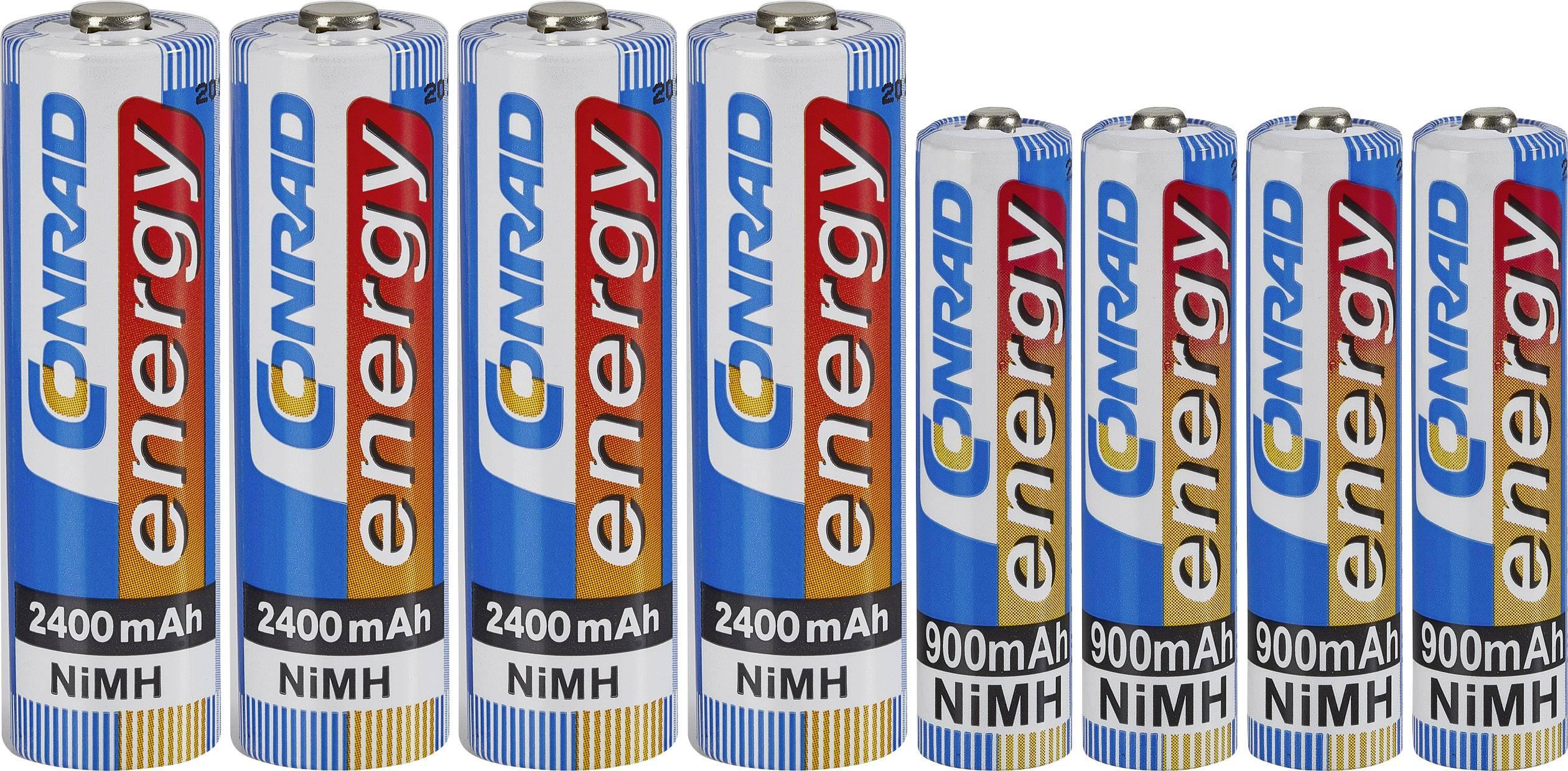 Akumulátory Conrad energy, NiMH, AAA, 900 mAh, 4 ks a NiMH, AA, 2400 mAh, 4 ks