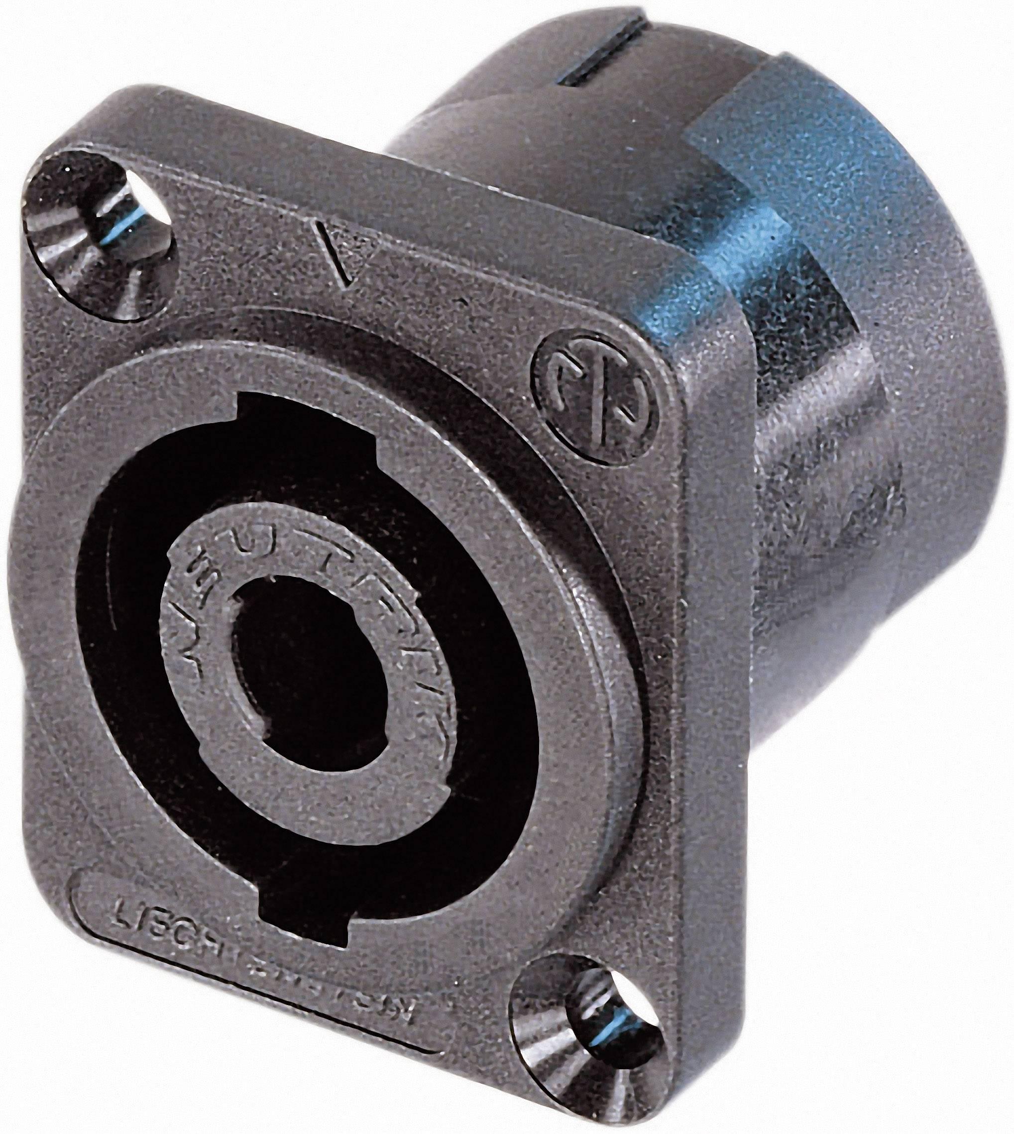 Konektor reproduktoru prírubová zásuvka, rovná Neutrik NL4MP-ST, počet pinov: 4, čierna, 1 ks