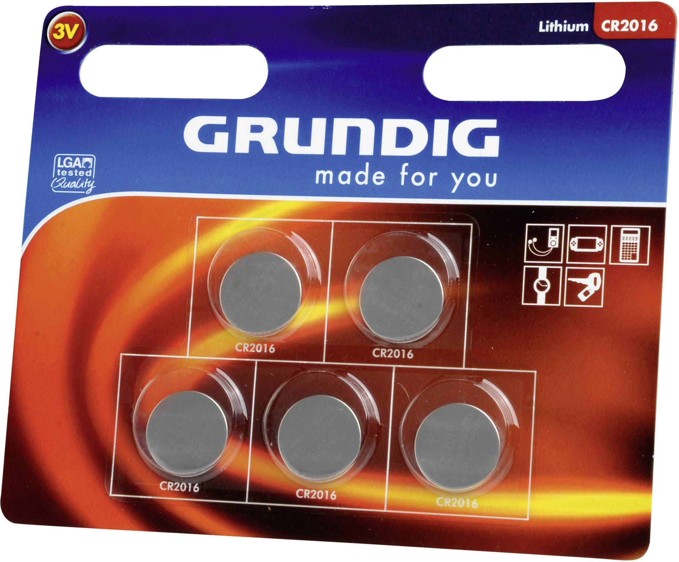 Knoflíková baterie Grundig CR2016, lithiová, 5 ks