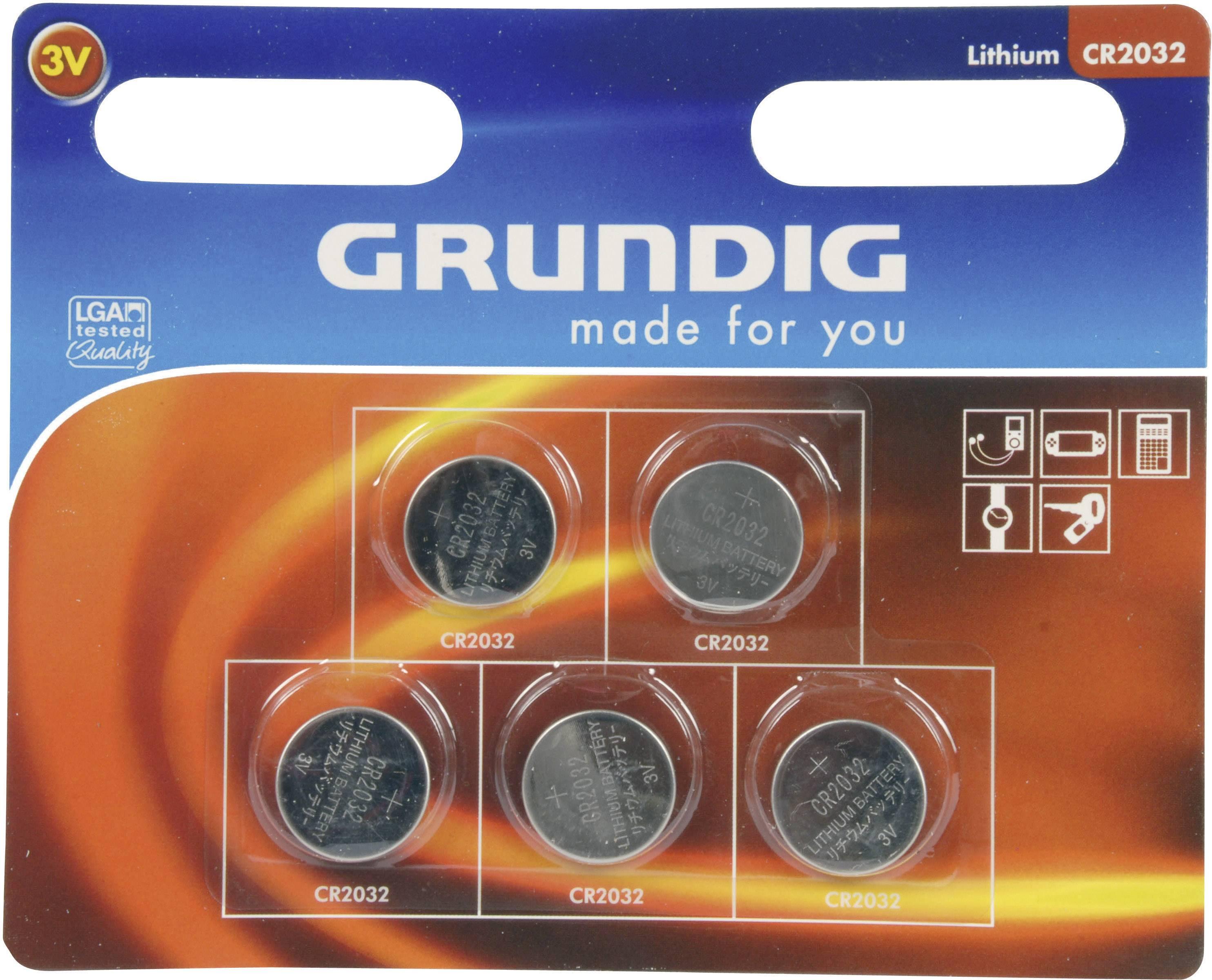 Gombíková batéria Grundig CR2032, lítiová, 5 ks