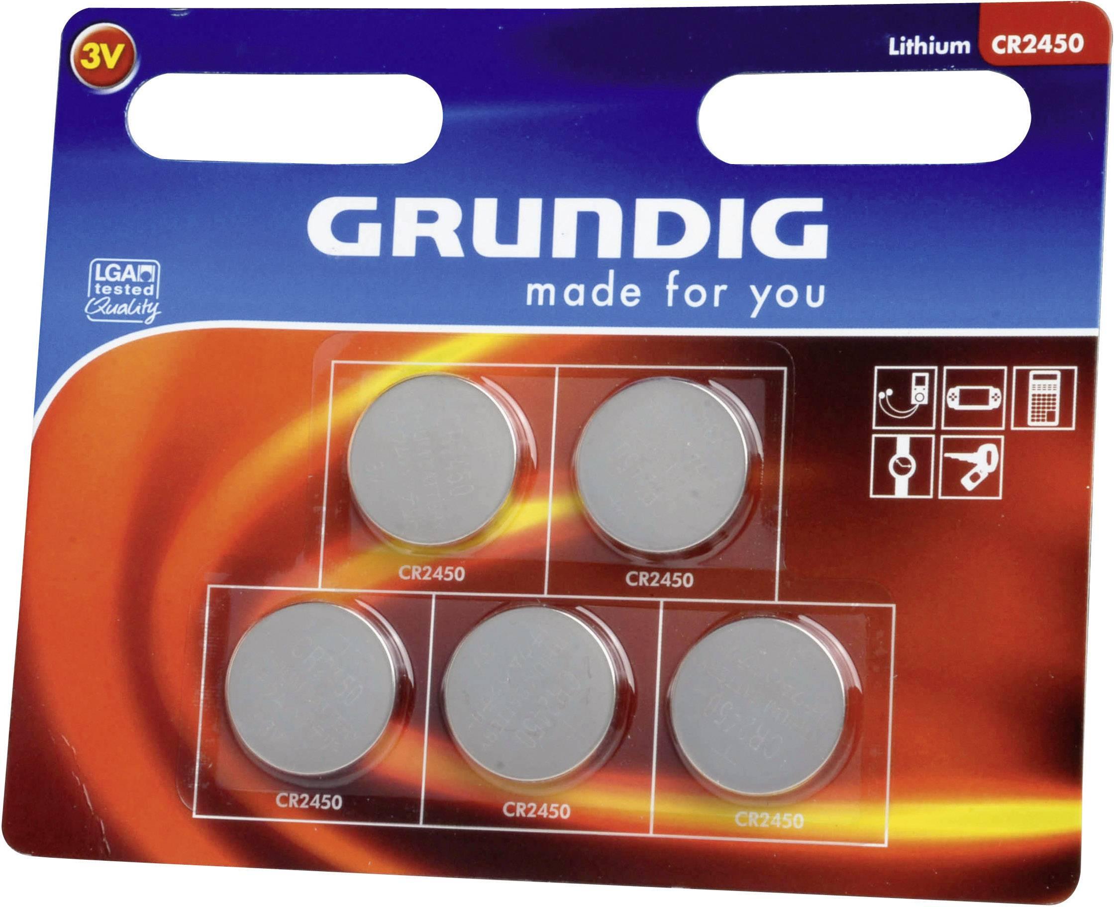 Gombíková batérie Grundig CR2450, lítiová, 5 ks