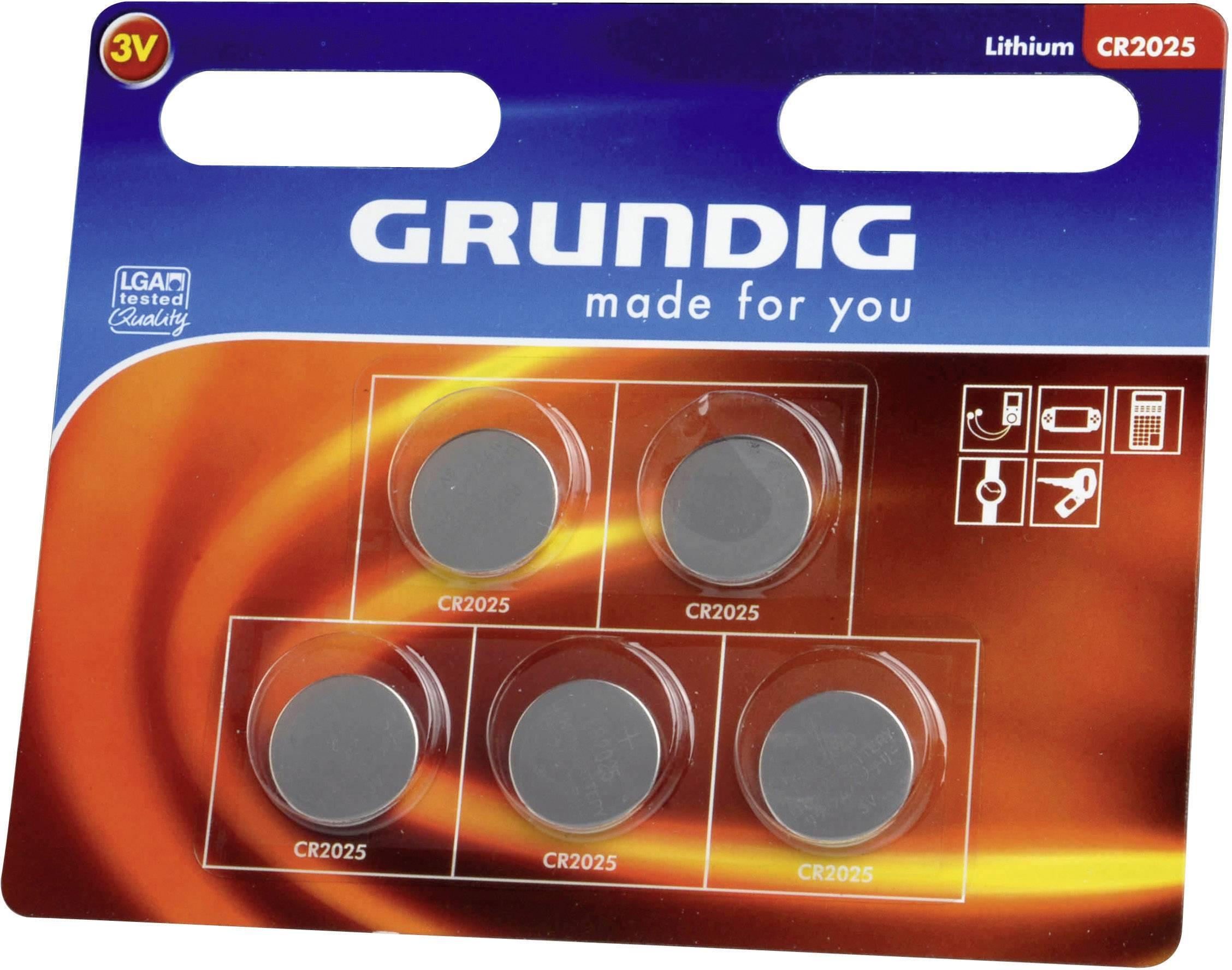 Gombíková batérie Grundig CR2025, lítiová, 5 ks