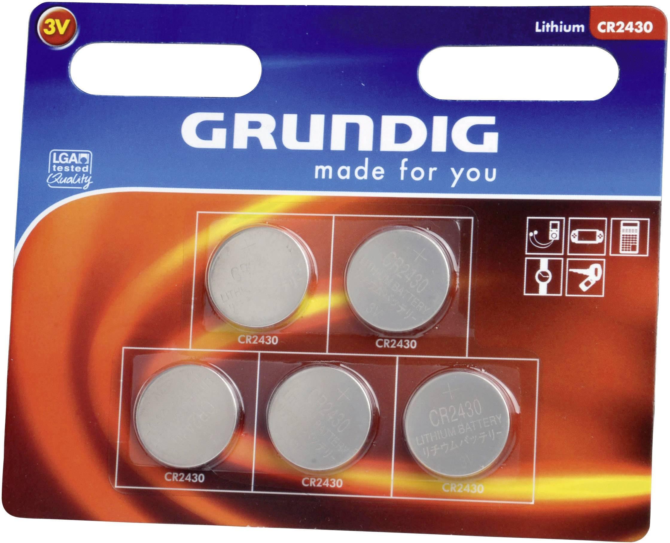 Gombíková batérie Grundig CR2430, lítiová, 5 ks