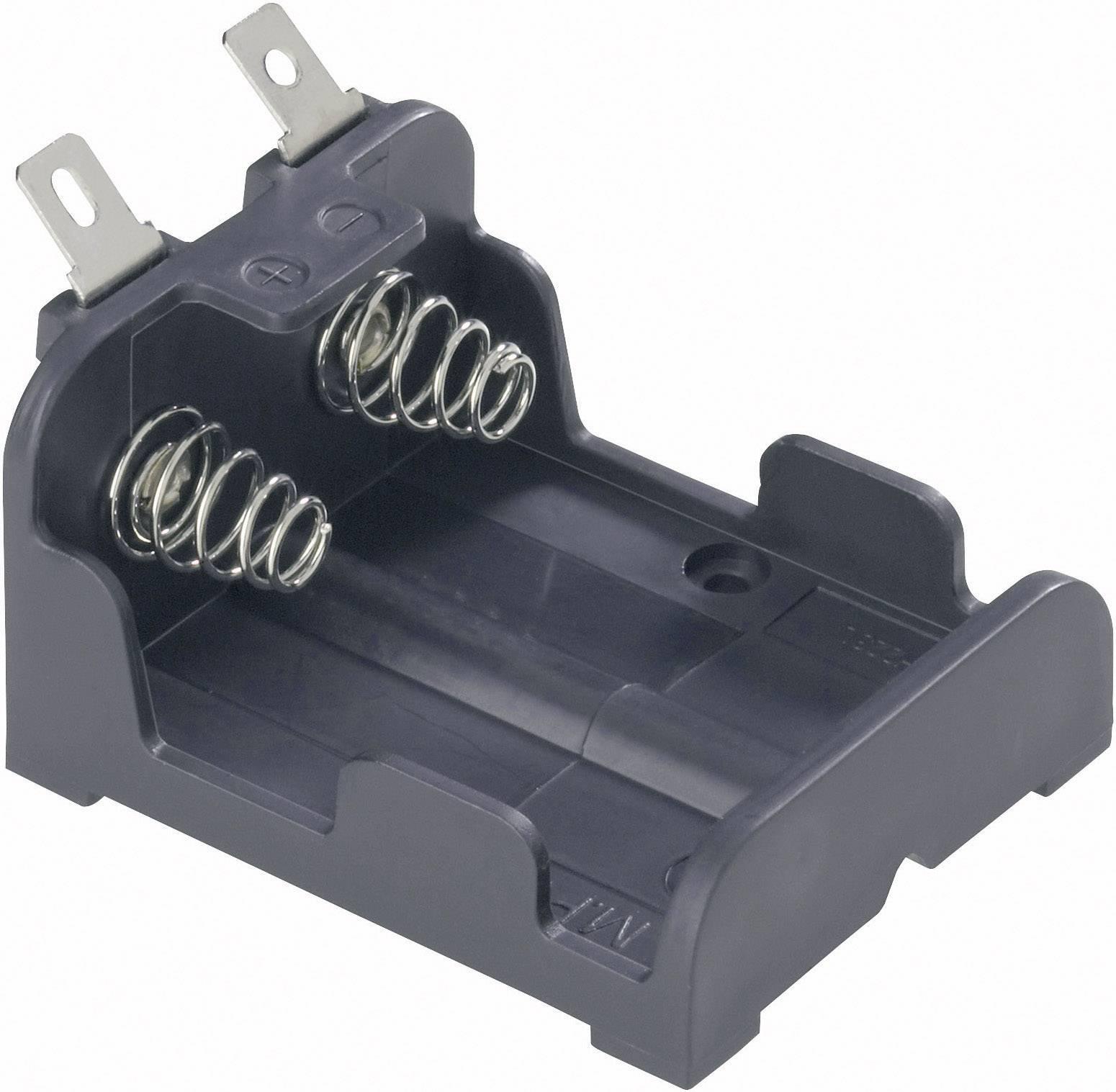 Držák na lithiové baterie 2x CRP2/DL223 MPD, s pájecími konektory, 26 x 38 x 47 mm, černá