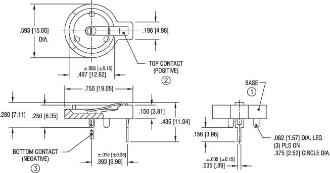 Držák na knoflíkovou baterii CR1216/CR1220/CR1225, horizontální