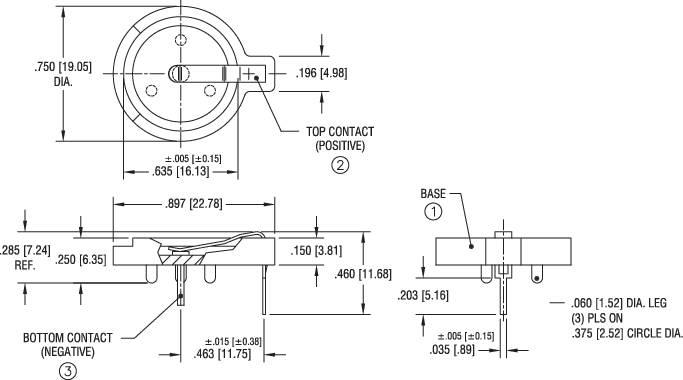 Držák na knoflíkovou baterii CR1616/CR1620/CR1632, horizontální