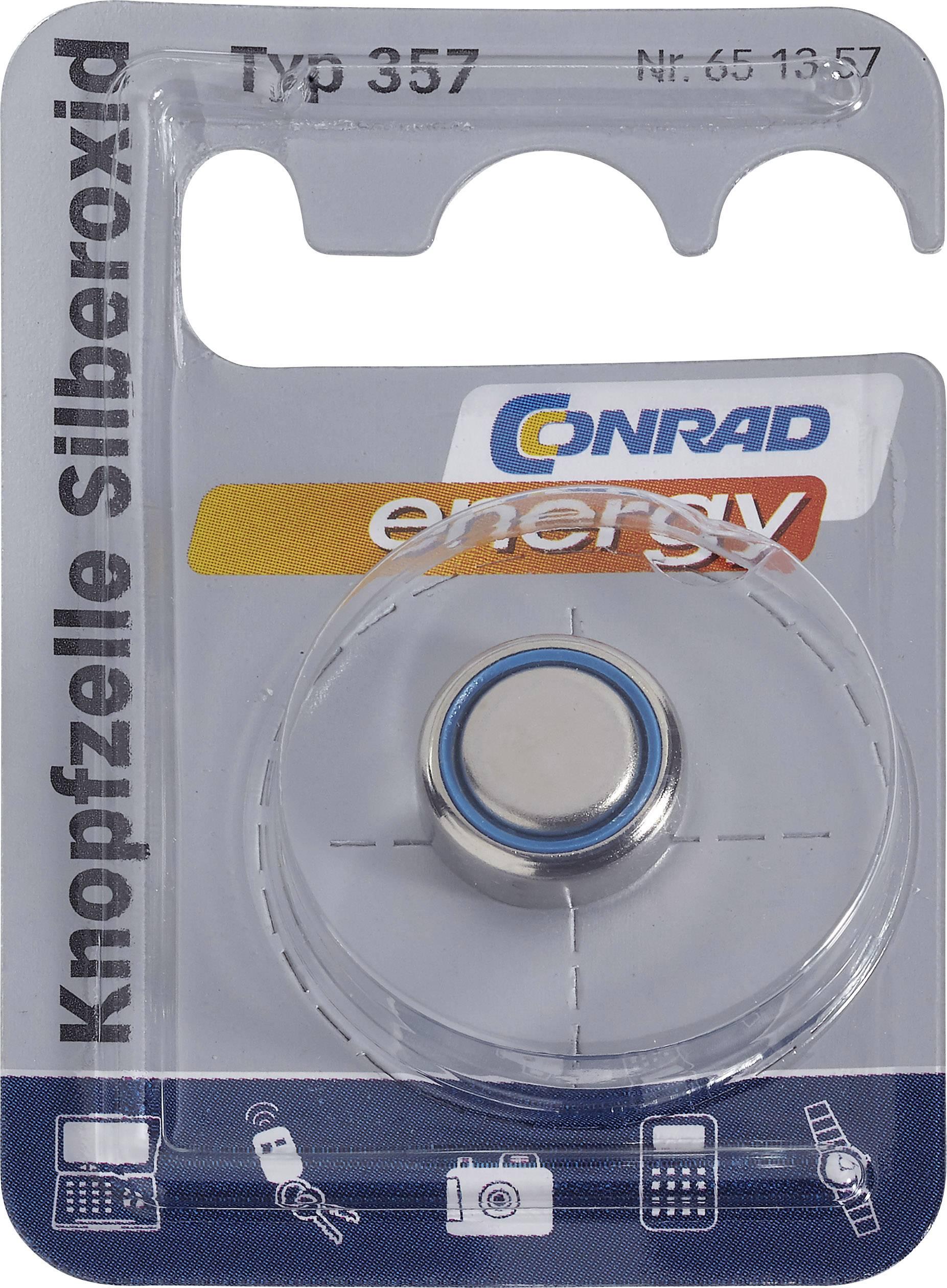 Knoflíková baterie na bázi oxidu stříbra Conrad energy SR44, velikost 357, 165 mAh, 1,55 V