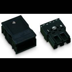Síťový konektor WAGO zástrčka, rovná, počet kontaktů: 3, 25 A, 250 V, černá, 25 ks