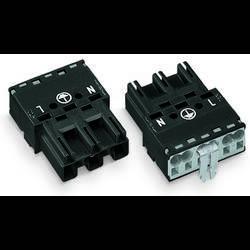 Síťový konektor WAGO zásuvka, rovná, počet kontaktů: 2 + PE, 25 A, 250 V, černá, 100 ks