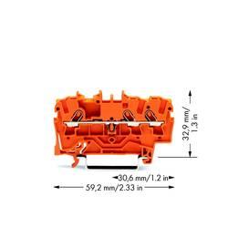 Průchodková svorka WAGO 2001-1302, pružinová svorka, 4.20 mm, oranžová, 100 ks