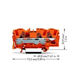 Průchodková svorka WAGO 2006-1302, pružinová svorka, 7.50 mm, oranžová, 25 ks