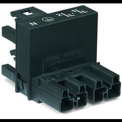 Síťový H rozdělovač síťová zástrčka - síťová zásuvka, síťová zásuvka počet kontaktů: 4, černá, 25 ks