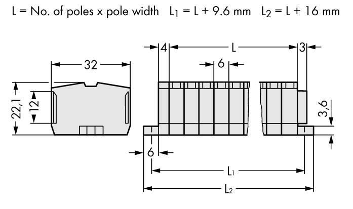 Svorková lišta WAGO 264-138, osazení: L, pružinová svorka, 6 mm, šedá, 50 ks