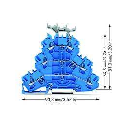 Trojitá svorka na DIN lištu WAGO 2002-3234, osazení: N, N, N, pružinová svorka, 5.20 mm, modrá, 50 ks