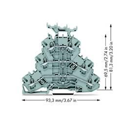 Trojitá svorka na DIN lištu WAGO 2002-3231, osazení: L, L, L, pružinová svorka, 5.20 mm, šedá, 50 ks