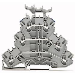 Trojitá svorka na DIN lištu WAGO 2002-3233, osazení: L, L, N, pružinová svorka, 5.20 mm, šedá, 50 ks
