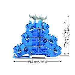 Trojitá svorka na DIN lištu WAGO 2002-3239, osazení: N, pružinová svorka, 5.20 mm, modrá, 50 ks