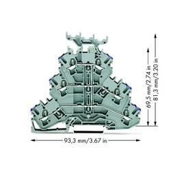 Trojitá svorka na DIN lištu WAGO 2002-3238, osazení: L, pružinová svorka, 5.20 mm, šedá, 50 ks