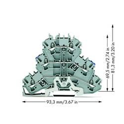 Trojitá svorka stínícího vedení WAGO 2002-3218, osazení: N, L, pružinová svorka, 5.20 mm, šedá, 50 ks
