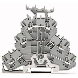 Trojitá svorka ochranného vodiče WAGO 2002-3257, osazení: Terre, L, L, pružinová svorka, 5.20 mm, šedá, 50 ks