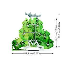 Trojitá svorka ochranného vodiče WAGO 2002-3237, osazení: Terre, pružinová svorka, 5.20 mm, zelenožlutá, 50 ks