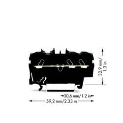 Průchodková svorka WAGO 2002-1305, pružinová svorka, 5.20 mm, černá, 100 ks