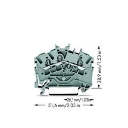 Průchodková svorka WAGO 2002-6301, osazení: L, pružinová svorka, 5.20 mm, šedá, 100 ks
