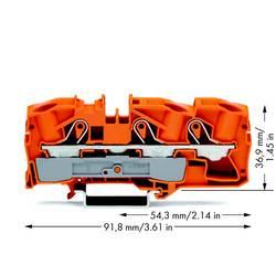 Průchodková svorka WAGO 2016-1302, pružinová svorka, 12 mm, oranžová, 20 ks