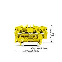 Průchodková svorka WAGO 2002-1306, pružinová svorka, 5.20 mm, žlutá, 100 ks