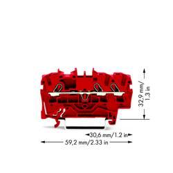 Průchodková svorka WAGO 2002-1303, pružinová svorka, 5.20 mm, červená, 100 ks