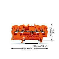 Priechodná svorka WAGO 2002-1402, pružinová svorka, 5.20 mm, oranžová, 100 ks