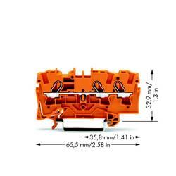 Průchodková svorka WAGO 2004-1302, pružinová svorka, 6.20 mm, oranžová, 50 ks