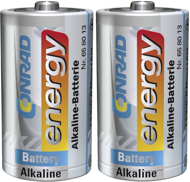 Alkalická baterie Conrad Energy, typ D, 2 ks