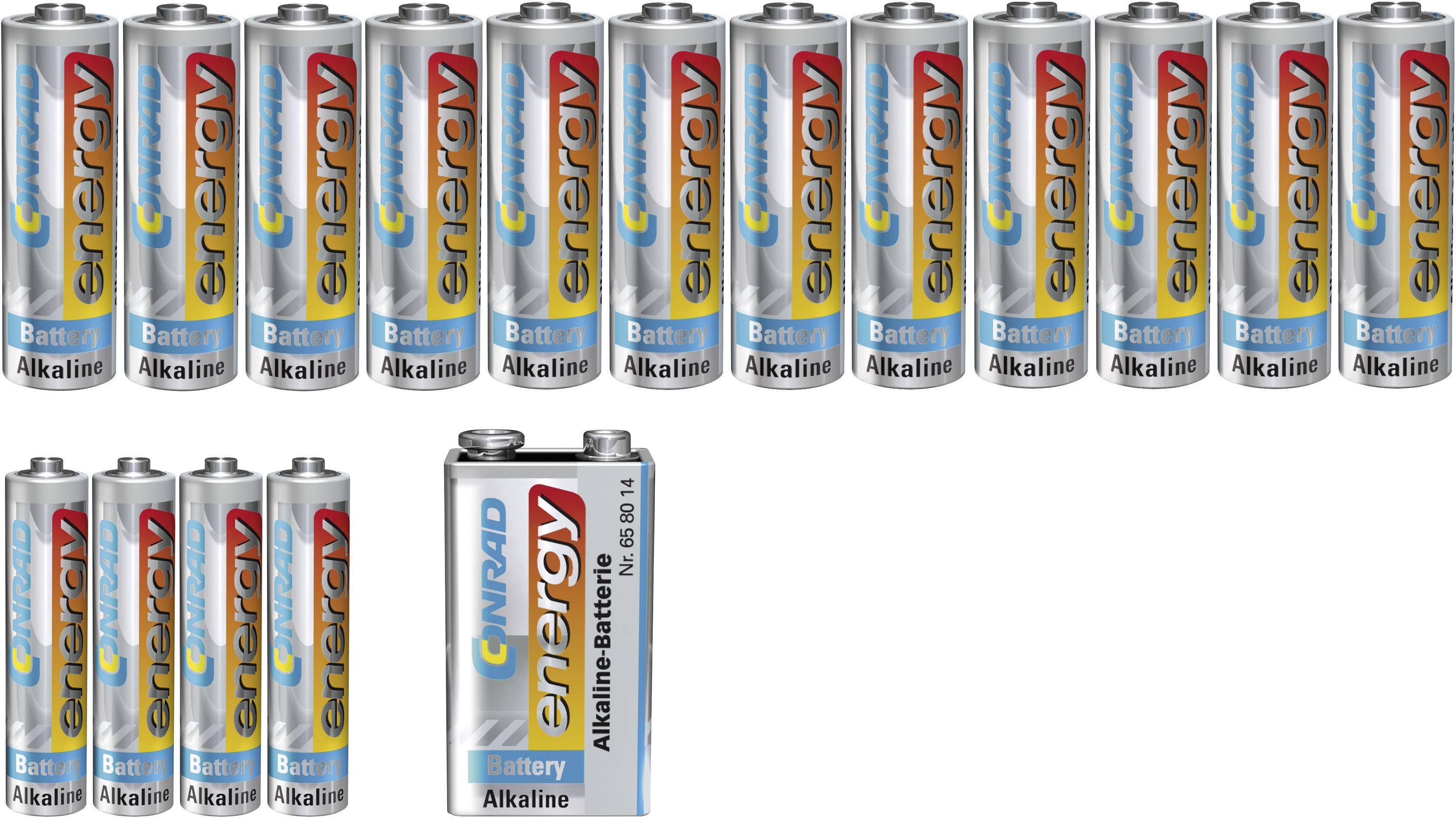 Conrad energy alkalické batérie 9V, 4xAAA+12xAA