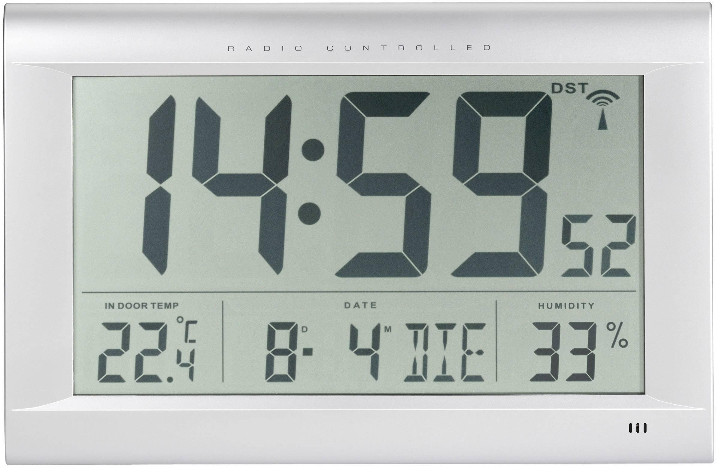 Digitálne nástenné DCF hodiny Jumbo s vlhkomerom