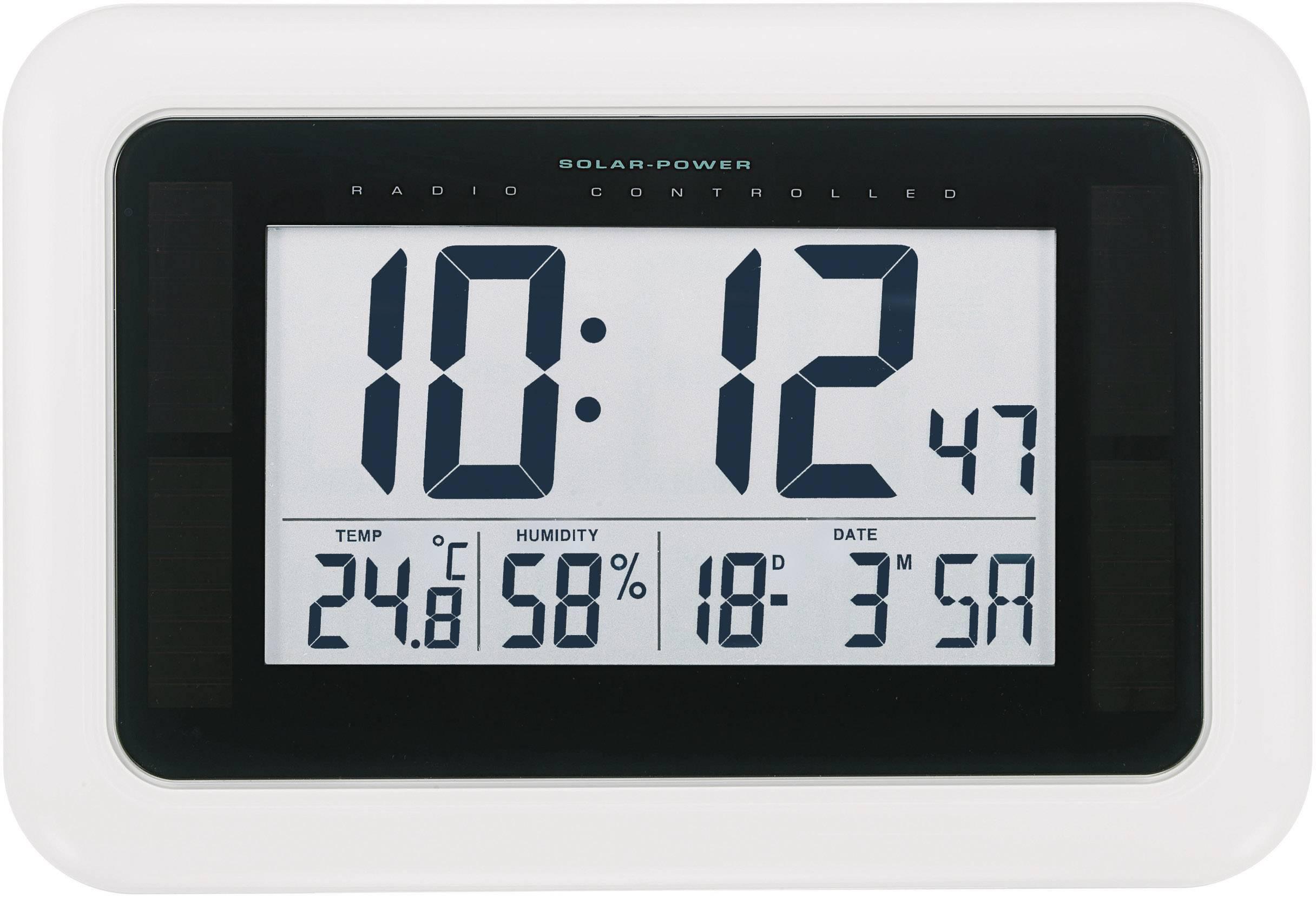 Solární nástěnné DCF hodiny, KW9101, 280 x 190 x 23 mm, bílá